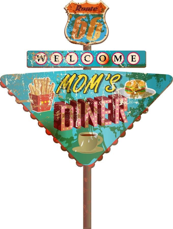 Signe sale de wagon-restaurant en métal de l'itinéraire 66, illustration libre de droits