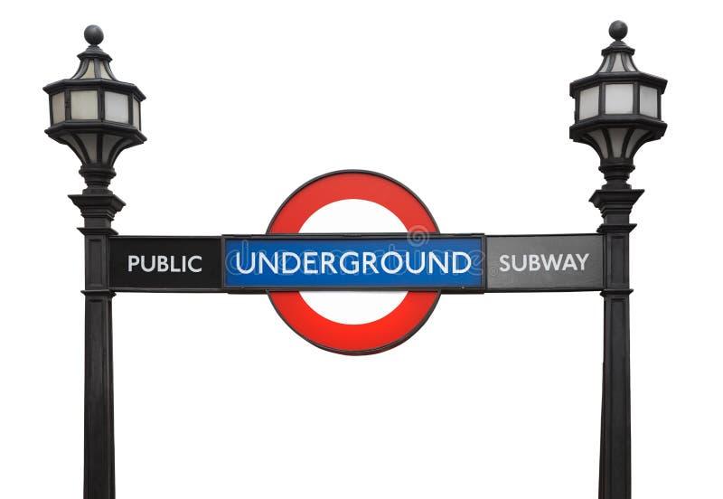 Signe souterrain de souterrain de public célèbre de Londres avec des réverbères photographie stock
