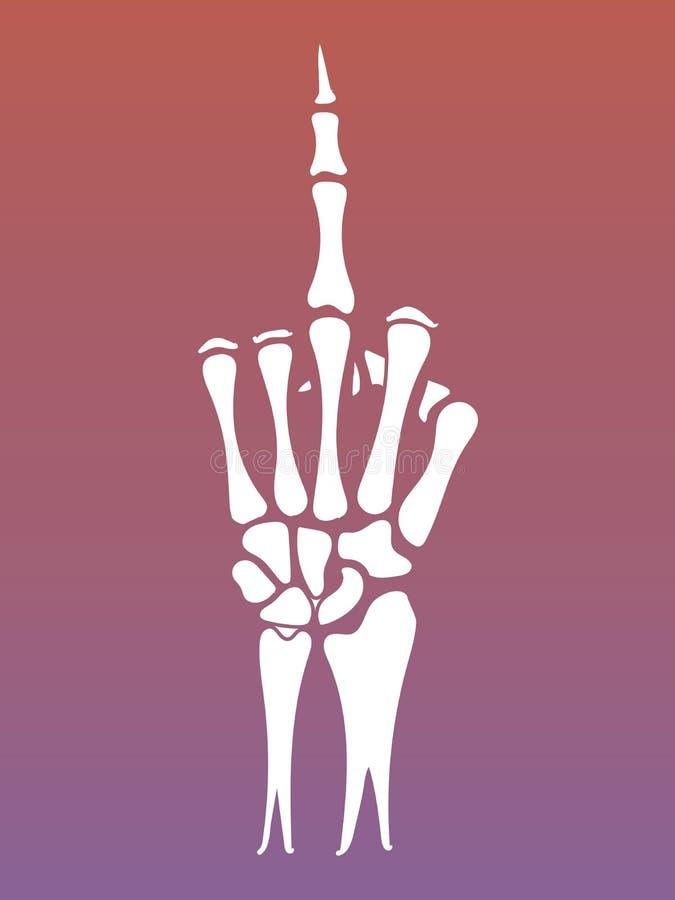 Signe squelettique de main avec le doigt moyen illustration stock