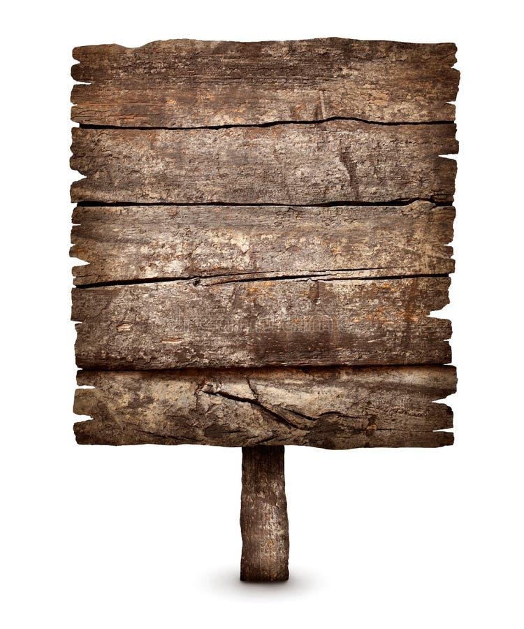 Signe superficiel par les agents vieux par blanc de conseil en bois photo libre de droits