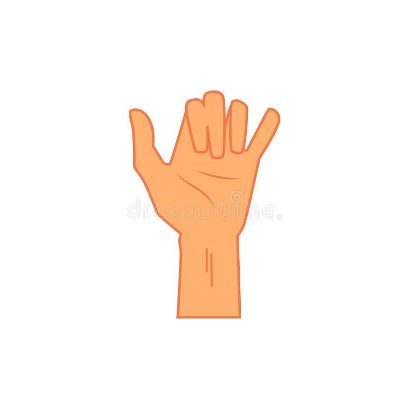 Signe surfant de main de shaka, icône dans le style plat de bande dessinée illustration stock