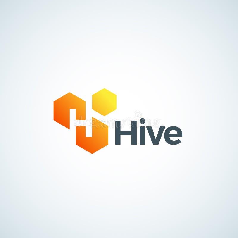 Signe, symbole ou Logo Template de vecteur d'Absrtract de ruche Honey Comb ou cellules avec la lettre incorporée H Icône de gradi illustration de vecteur