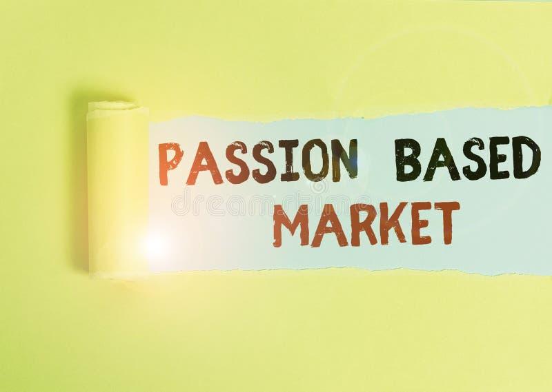 Signe texte montrant le marché basé sur la passion Photo conceptuelle Chaîne de vente émotionnelle une stratégie centralisée pers images libres de droits