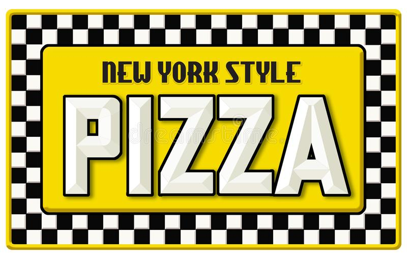 Signe Tin Embossed de pizza de style de New York illustration de vecteur
