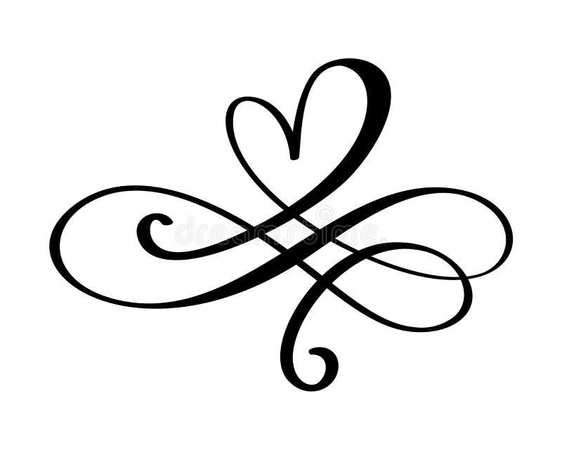 Signe tiré par la main d'amour de coeur Symbole romantique d'icône de diviseur d'illustration de vecteur de calligraphie pour le  illustration stock