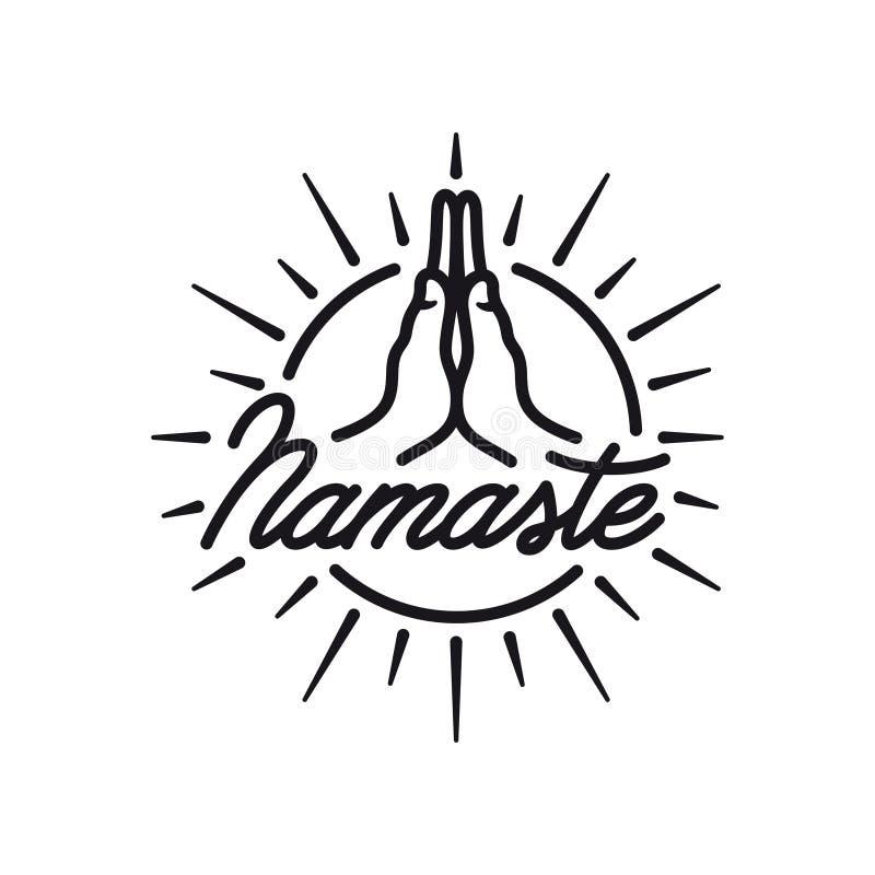 Signe tiré par la main de namaste Emblème central de yoga Illustration de vintage de vecteur illustration libre de droits