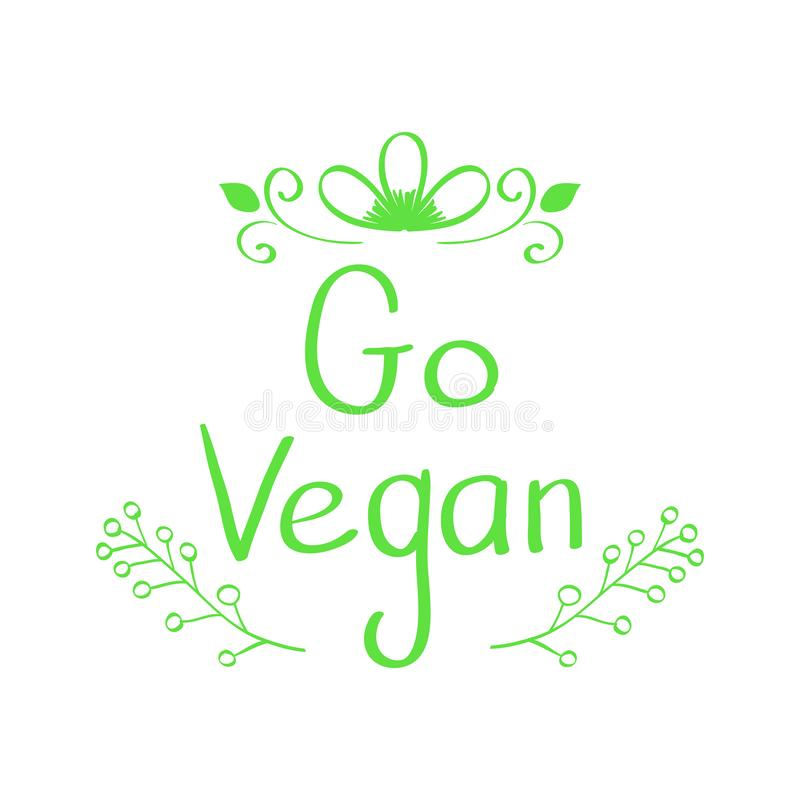 Signe tiré par la main de vecteur La calligraphie vont Vegan Disparaissent le logo de Vegan Illustration de vecteur illustration de vecteur