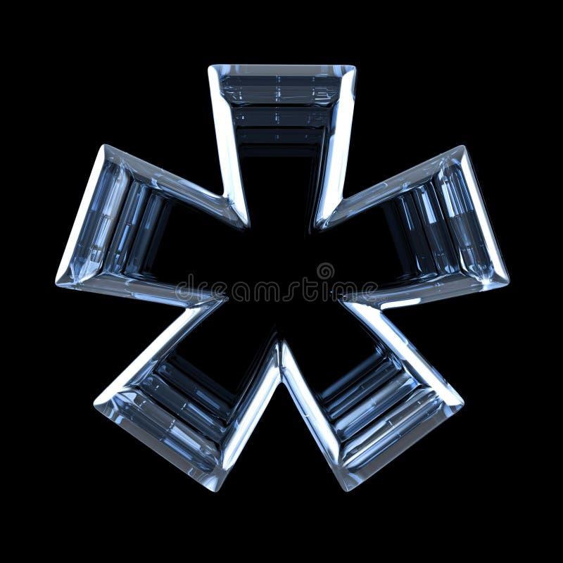 Signe transparent 3D d'ASTÉRISQUE de rayon X illustration stock