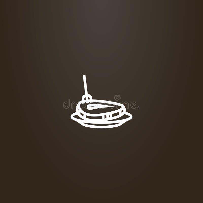 Signe vecteur de schéma de bifteck a martelé avec une fourchette d'un plat illustration libre de droits