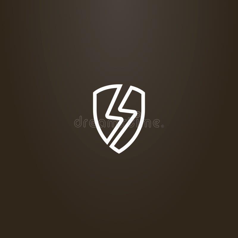 Signe vecteur de schéma d'un bouclier avec un orage se connectent le illustration de vecteur