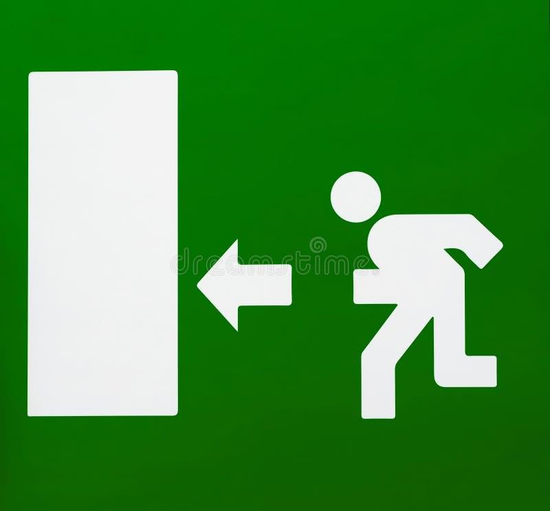 Signe vert de sortie de secours avec les silhouettes de la flèche directionnelle et de l'homme courant De grande taille illustration stock