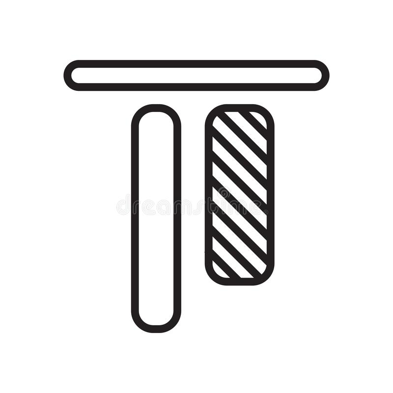 Signe vertical et symbole de vecteur d'icône d'alignement d'isolement sur le fond blanc, concept vertical de logo d'alignement illustration stock