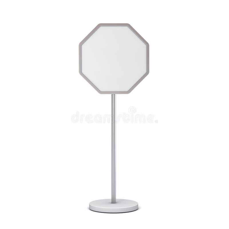 Signe vide d'octogone avec la moquerie de blanc de support de poteau vers le haut du panneau ou d'annoncer de signage de l'inform illustration libre de droits