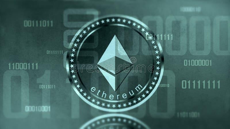 Signe virtuel d'Ethereum de cryptocurrency photos libres de droits
