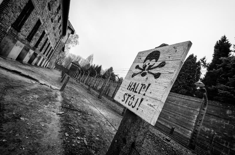 Signe warining d'Auschwitz image stock
