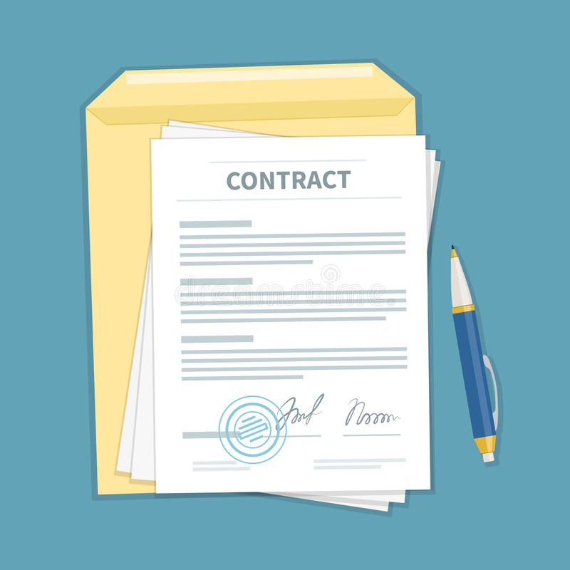 Signed a contract with stamp, envelope, pen. The form of document. Financial agreement concept. Top view. stock illustration