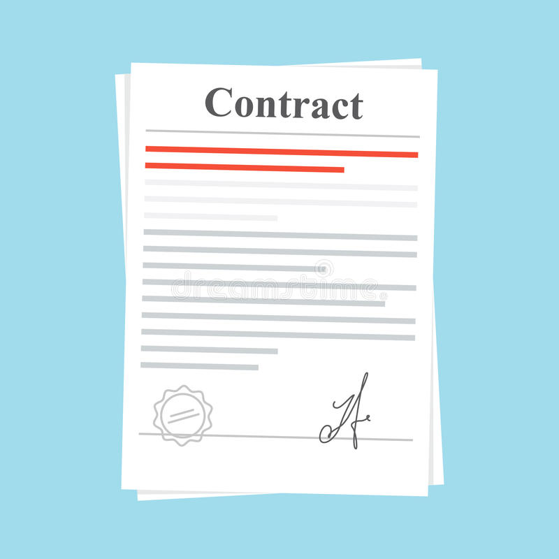 Signed paper deal contract icon agreement. Document with a stamp and a signature. Flat illustration on blue vector illustration
