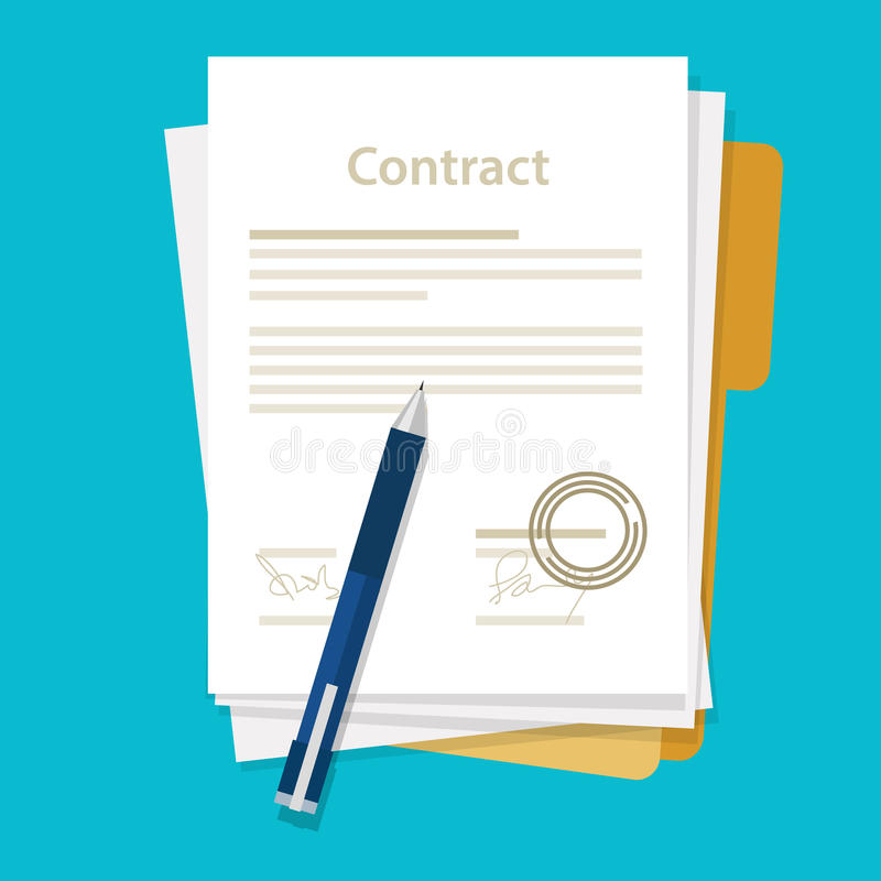 Signed paper deal contract icon agreement pen on desk flat business illustration vector. Drawing vector illustration