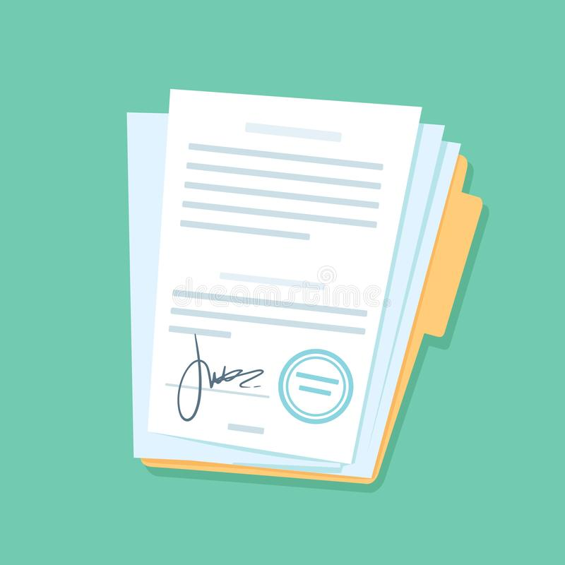 Signed paper documents. Manual signature on important office papers, stamped documentation files in files folder vector stock illustration