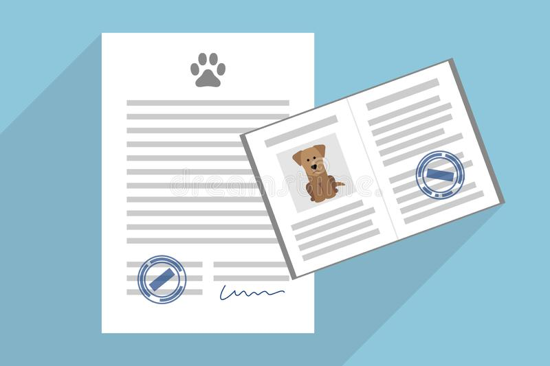 Pet adoption contract and dog passport. Signed pet adoption or sale agreement, and pet passport with dog photo inside vector illustration