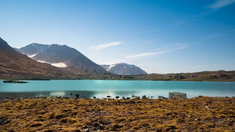 Signehamna bay, Nordvest-Spitsbergen National Park, Svalbard, Norway. View of the Signehamna, a natural bay and harbor in Albert I Land at Spitsbergen, Svalbard stock image