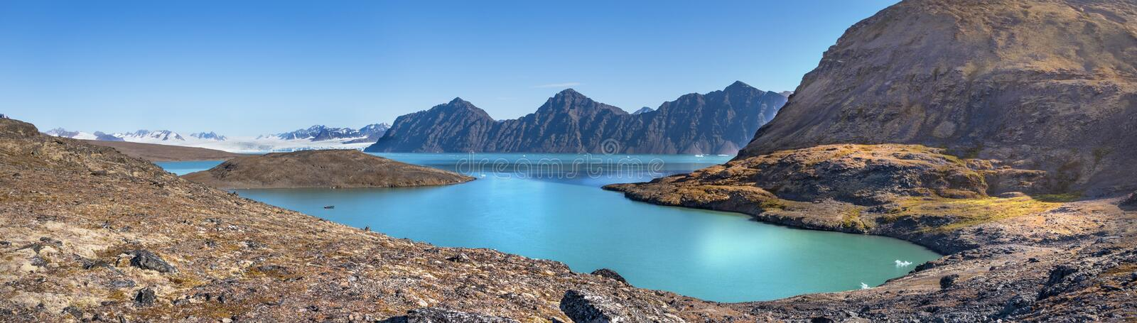 Signehamna bay, Nordvest-Spitsbergen National Park, Svalbard, Norway. View of the Signehamna, a natural bay and harbor in Albert I Land at Spitsbergen, Svalbard royalty free stock images