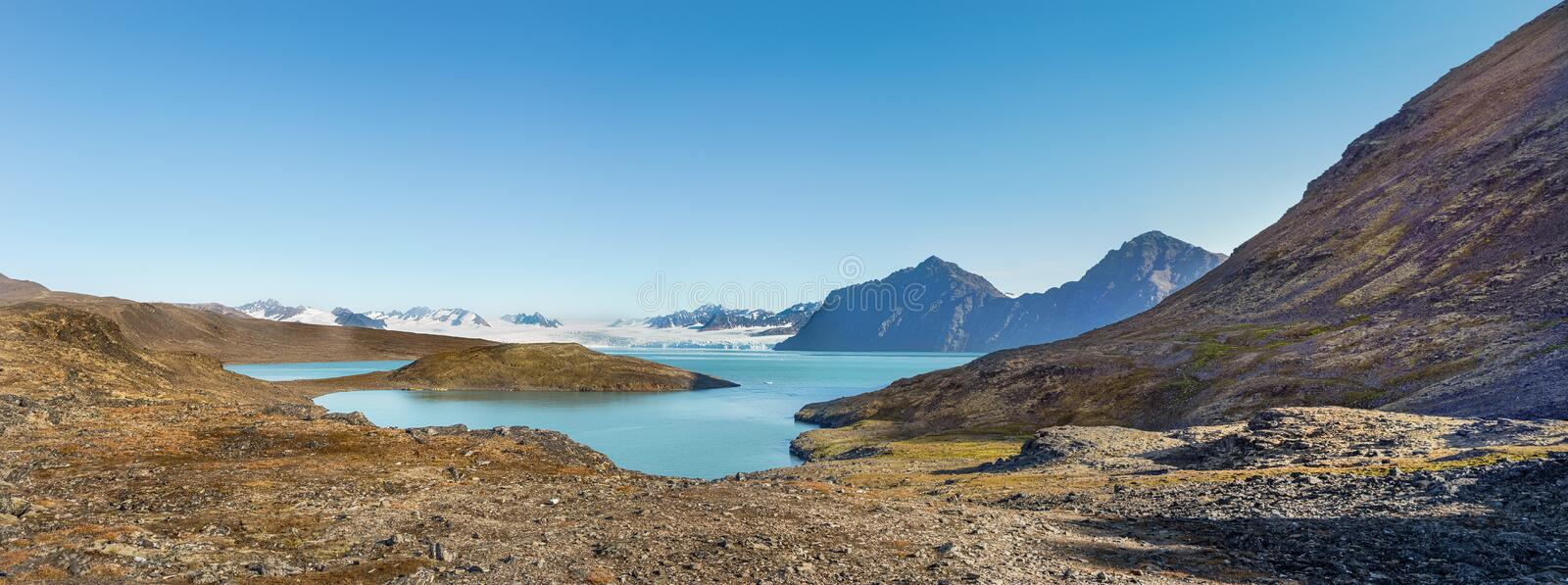 Signehamna bay, Nordvest-Spitsbergen National Park, Svalbard, Norway. View of the Signehamna, a natural bay and harbor in Albert I Land at Spitsbergen, Svalbard royalty free stock photos