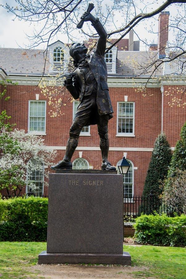 Signer statue in Philadelphia stock photo