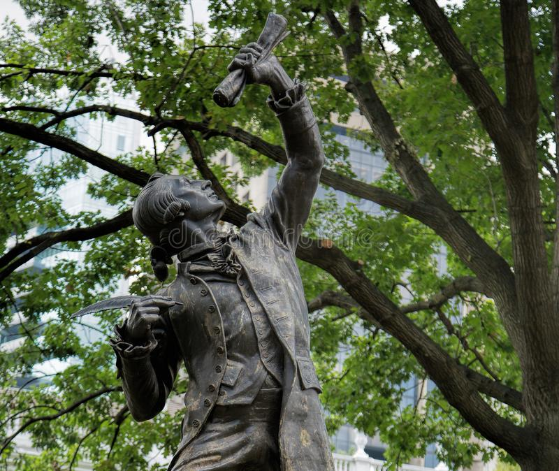 The Signer Statue in Philadelphia. The Signer was inspired by George Clymer, a signer of both the Constitution and the Declaration of Independence, from royalty free stock photography