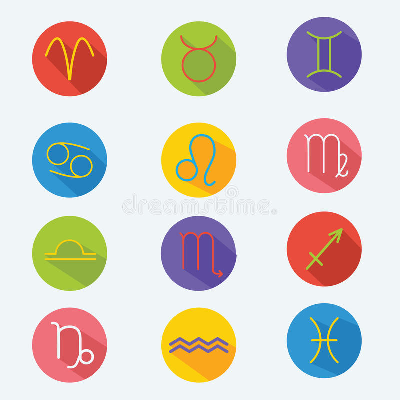 Signes astrologiques classiques de zodiaque Ensemble de vecteur Icônes dans le style plat avec la longue ombre illustration stock