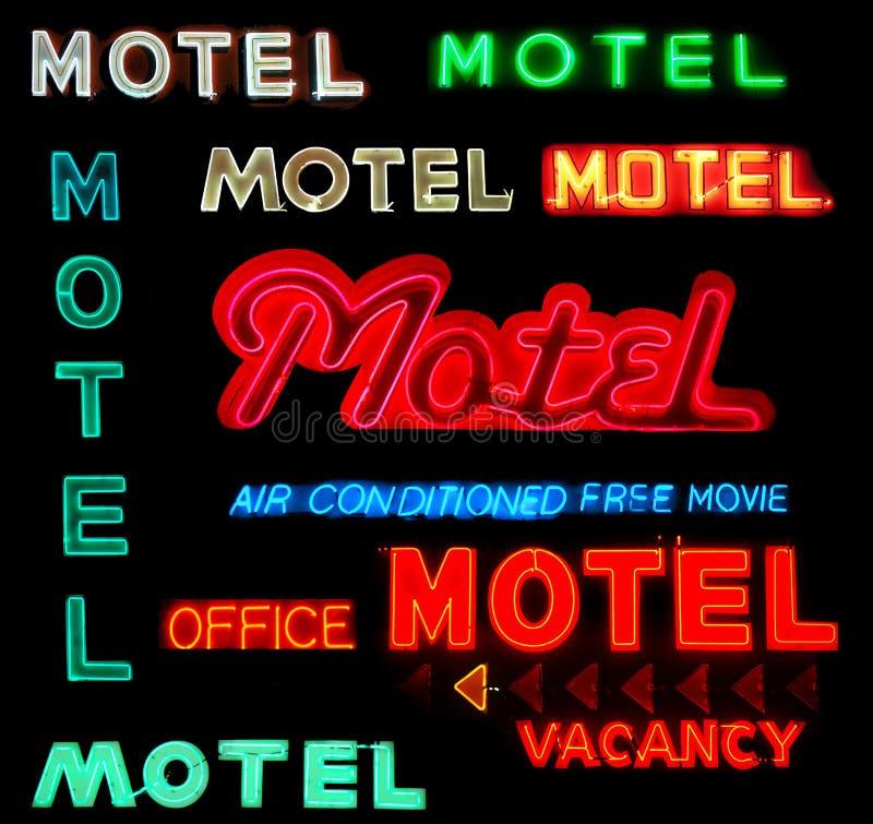 Signes au néon de motel de collage photo libre de droits