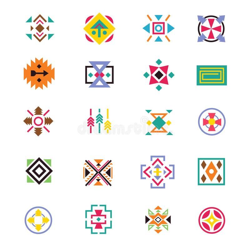Signes aztèques de style d'appartenance ethnique Modèles indiens de vecteur d'art de Navajo illustration de vecteur