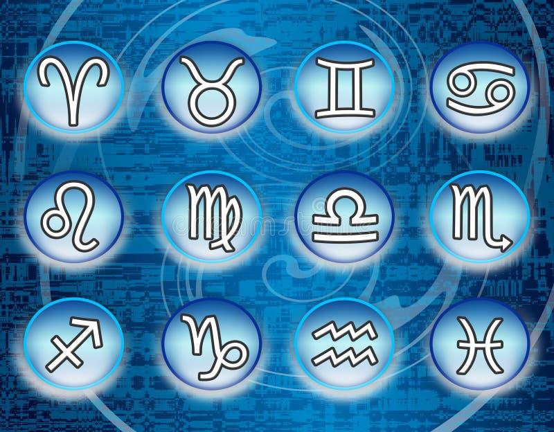 Signes bleus de zodiaque illustration stock