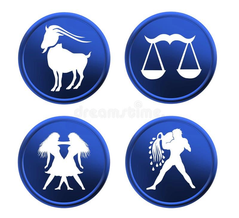 Signes bleus de zodiaque - positionnement 1 illustration libre de droits