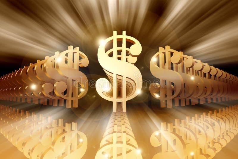 Signes brillants du dollar illustration stock