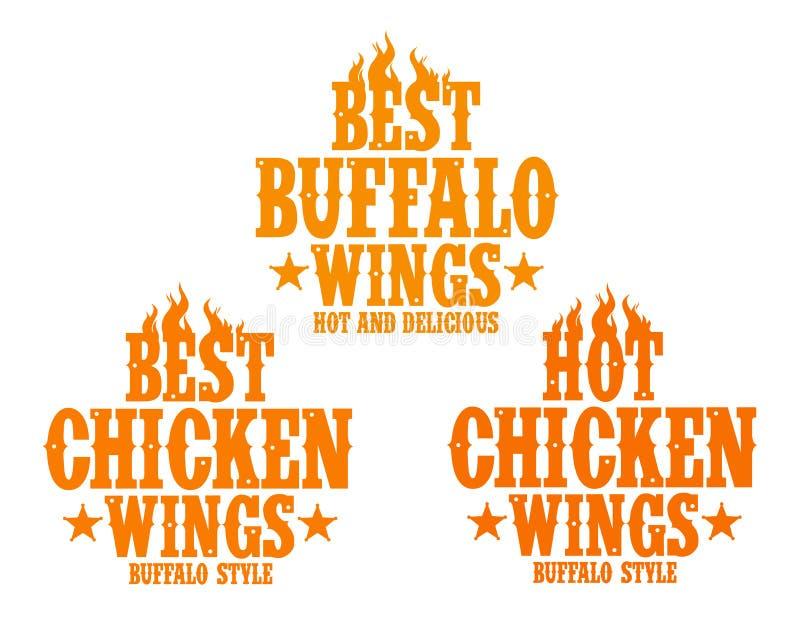 Signes chauds d'ailes de poulet. illustration de vecteur