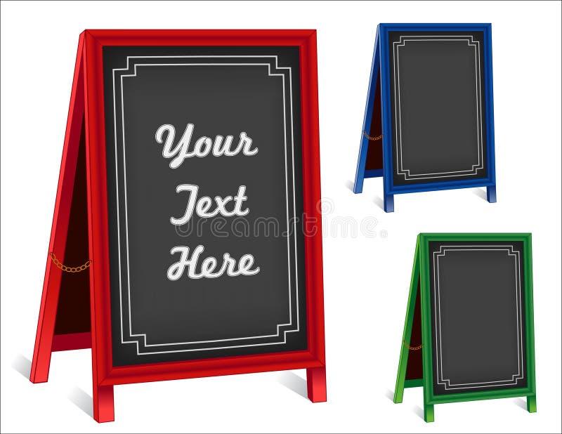 Signes, chevalets de trottoir de pliage de panneau de craie, vues rouges et vert-bleu illustration de vecteur