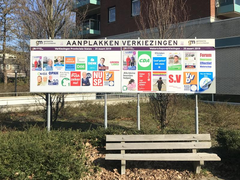 Signes d'élection pour les élections provinciales néerlandaises de 2019 photos libres de droits