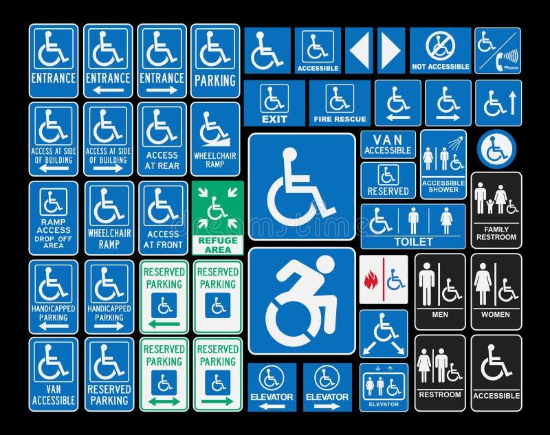 Signes d'handicap illustration de vecteur