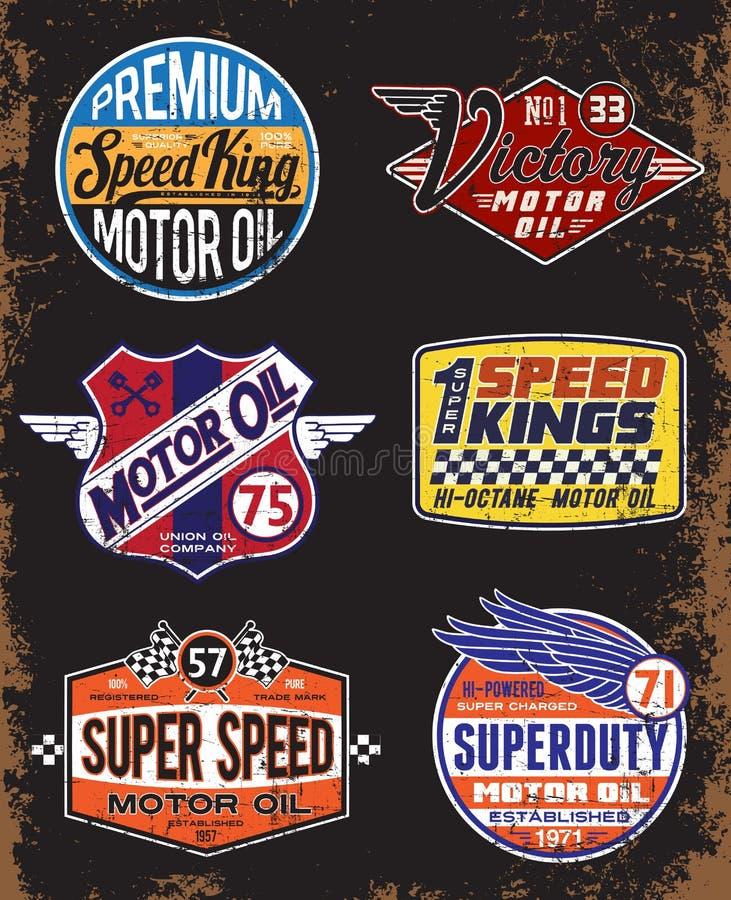 Signes d'huile de moteur de vintage et ensemble de label illustration de vecteur
