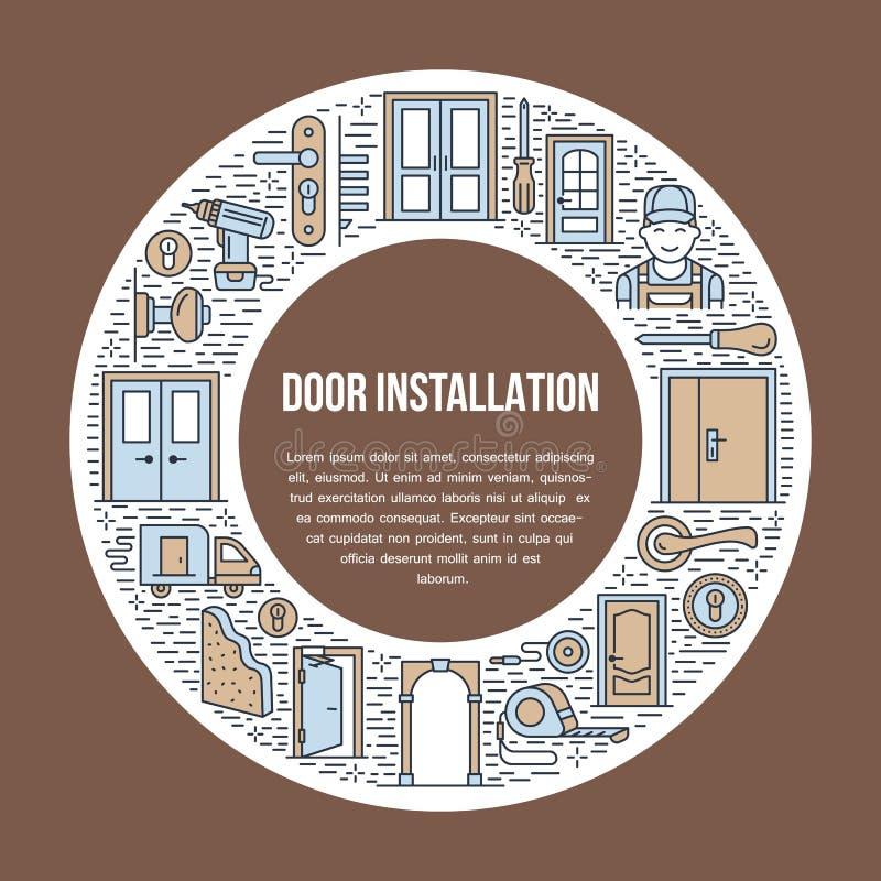 Signes d'installation de portes, illustration de bannière de réparation Dirigez la ligne icône de divers types de porte, poignée, illustration de vecteur