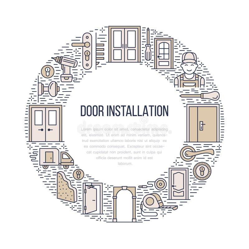 Signes d'installation de portes, illustration de bannière de réparation Dirigez la ligne icône de divers types de porte, poignée, illustration libre de droits
