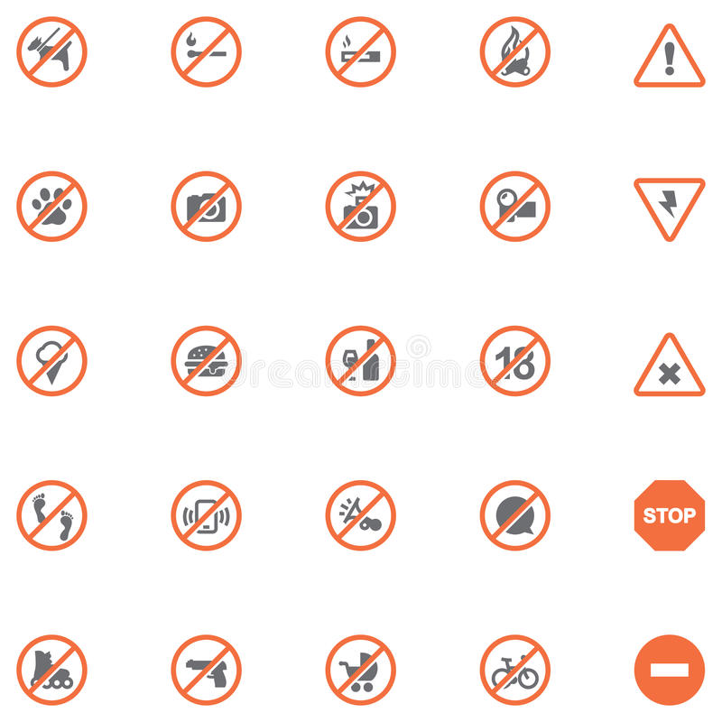 Signes d'interdiction réglés illustration de vecteur
