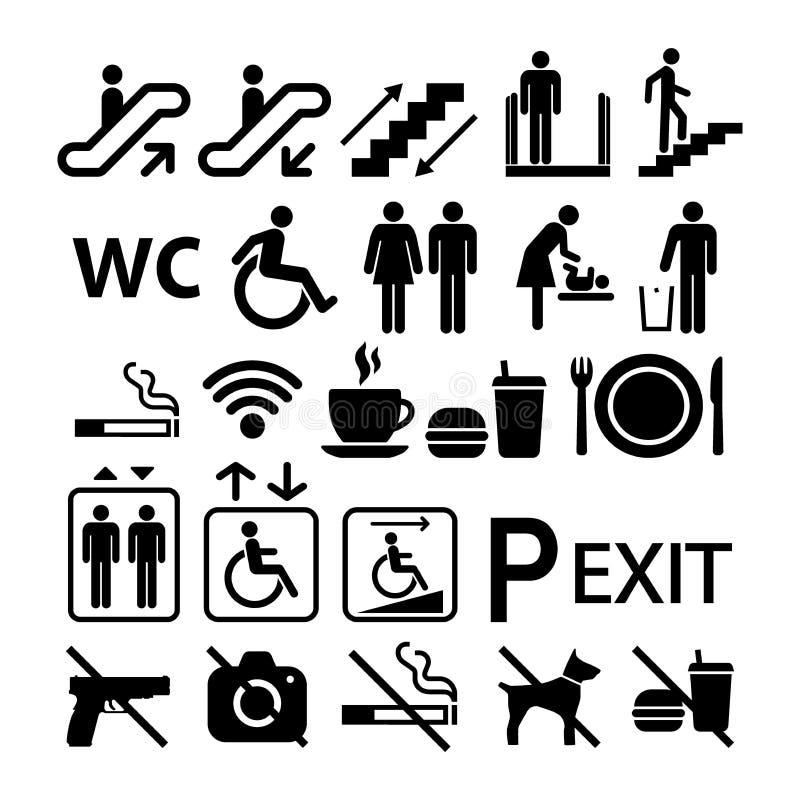 Signes d'universel d'édifice public Signes de l'information de centre commercial réglés des symboles illustration libre de droits