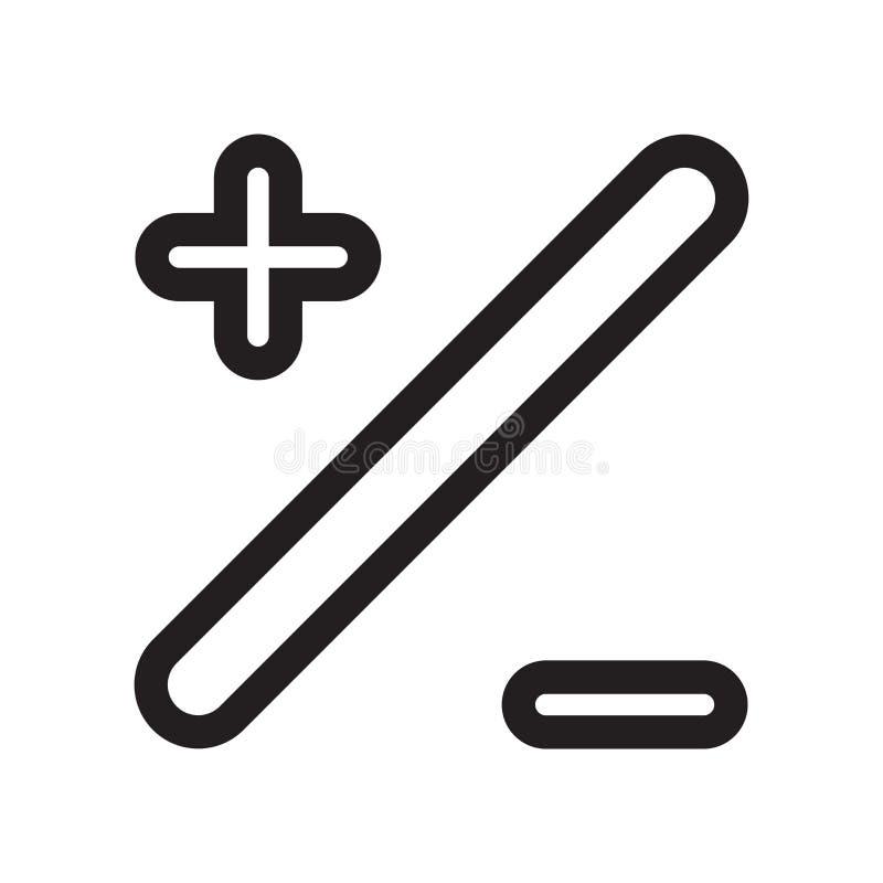 Signes de base mathématiques de plus et de négatif avec un signe et un symbole de vecteur d'icône de barre oblique d'isolement su illustration stock
