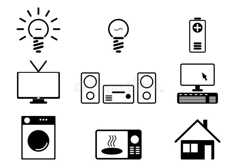 Signes 1 de biens d'équipement ménager illustration libre de droits