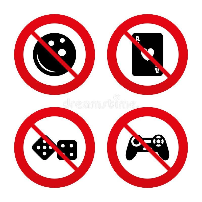 Signes de bowling et de casino Manette de jeu vidéo illustration de vecteur