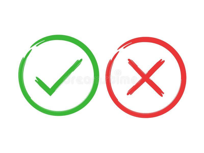 Signes de brosse de coutil et de croix Trait de repère vert CORRECT et icônes rouges de X, d'isolement sur le fond blanc Marques  illustration stock