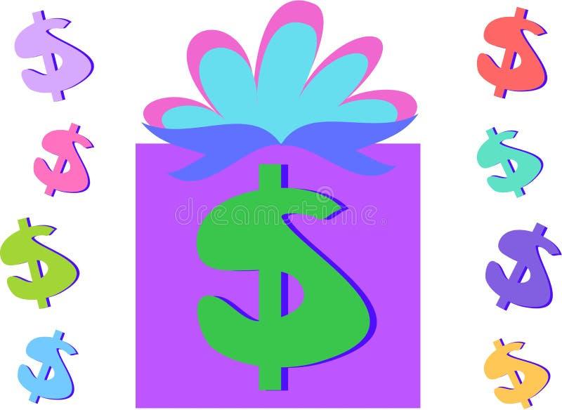 Signes de cadeau et de dollar d'argent illustration de vecteur