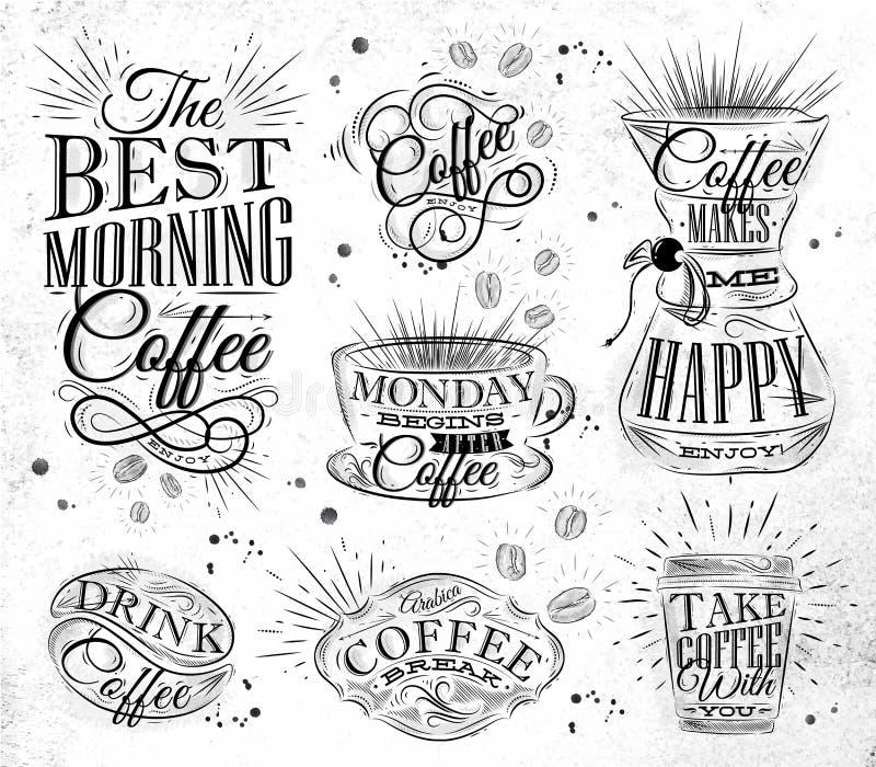 Signes de café illustration de vecteur